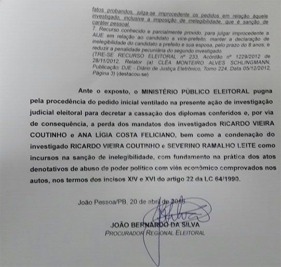 AIJE MPE pede cassação de RC 20abr2016