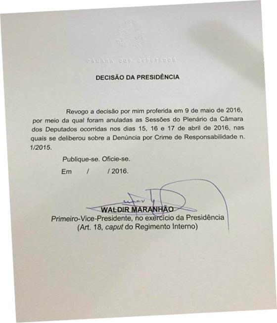 Deputado Waldir Maranhão desdecisão