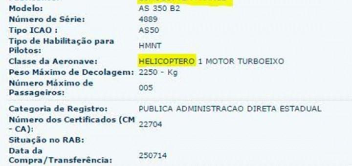 Helicóptero licença cassada pelo DAC