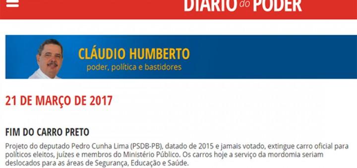 Pedro Cunha Lima em Cláudio HUmerto 21mar2017