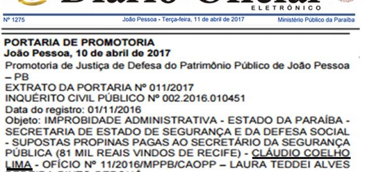 Caso Propinoduto promotor aciona Cláudio Lima 11abr2017