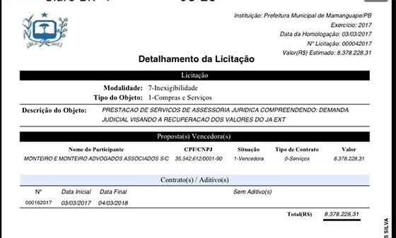 Caso Gerailton contrato milionario