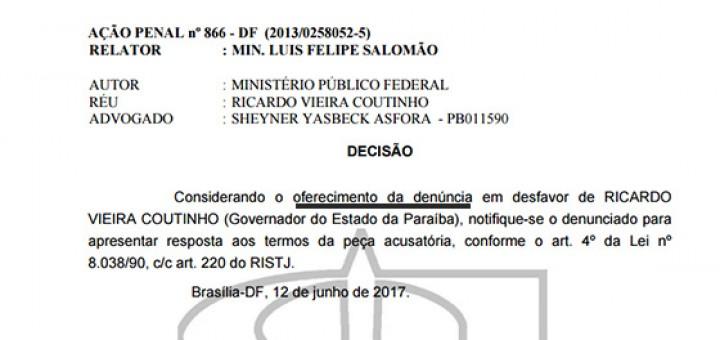 STJ denúncia contra RC em ação penal