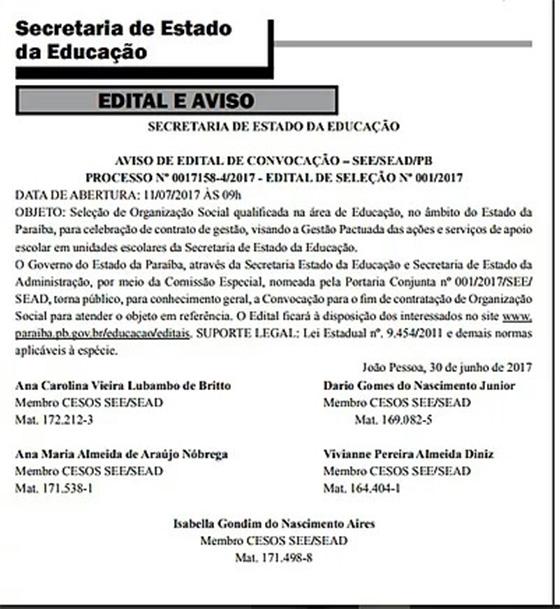 Terceirização da educação edital 4jun2017