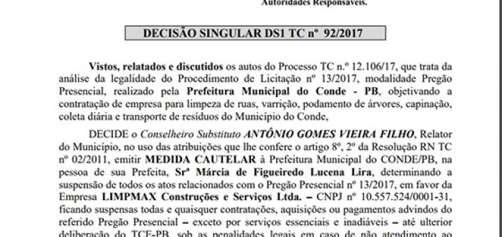 Conde TCE suspende licitação do lixo out2017