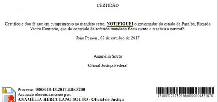 Ricardo Coutinho ação penal notificação 17out2017