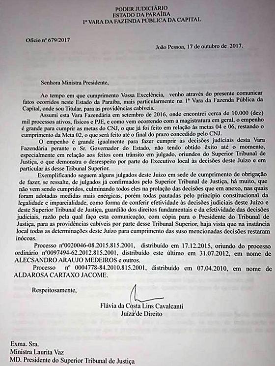 Juiza aciona STJ contra governador
