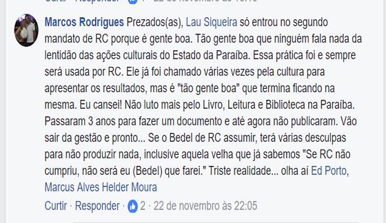 Marcos Rodrigues lamenta não publicaçao