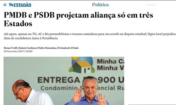 PSDB e PMDB para 2018 Estadão