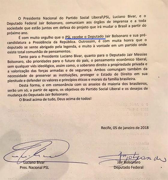 Bolsonaro Formaliza Filiação Ao PSL, Assume Partido De