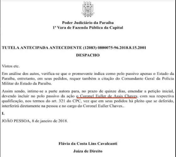 Caso Euller juíza manda intimar coronel