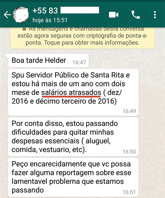 Santa Rita salários atrasados