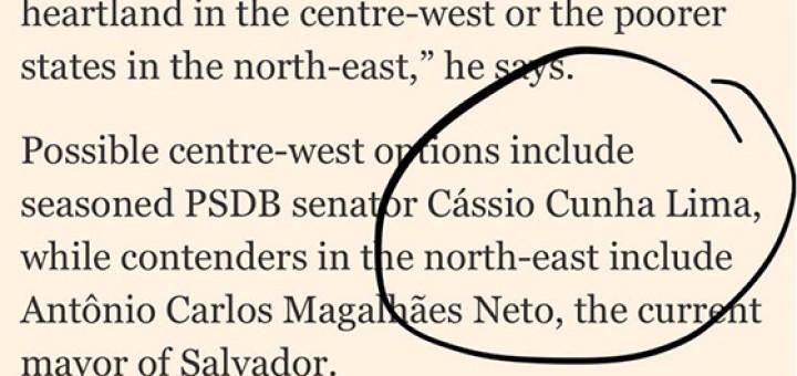 Financial Times Cássio cotado vice
