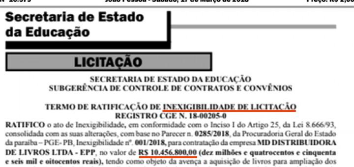 Governo compra mais R$ 10 mi sem licitação 17mar2018