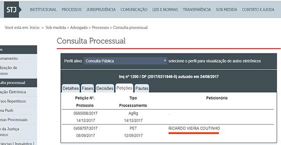 STJ ação penal 1200 petição de RC