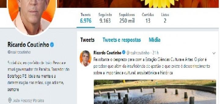 Ricardo Coutinho tuita contra EStação Ciência