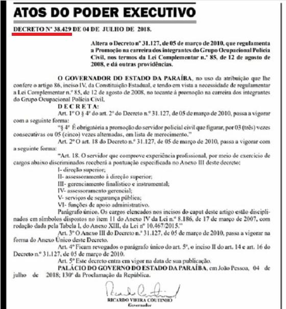 Decreto de RC nr 38.429 da PC