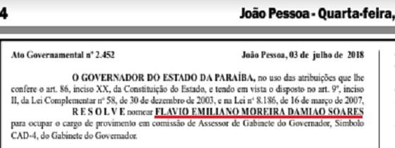 Governador renomeia Flávio Moreira